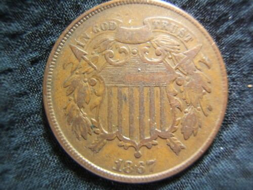 1867 2 Cent Bronze F/VF original and NICE!  Affordable! Great detail and color