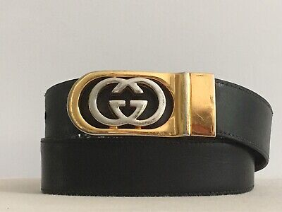 Vintage Gucci Italy GG Logo Buckle Reversible Gold Silver Tone w/ Black Belt XS
