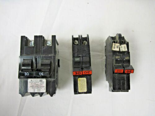 Three (3) American/ FPE 30 AMP 2-Pole STAB-LOK Circuit Breakers