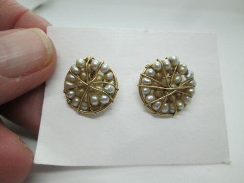 VINTAGE GOLD FILLED WIRE WRAP SEED PEARL EARRINGS PIERCED