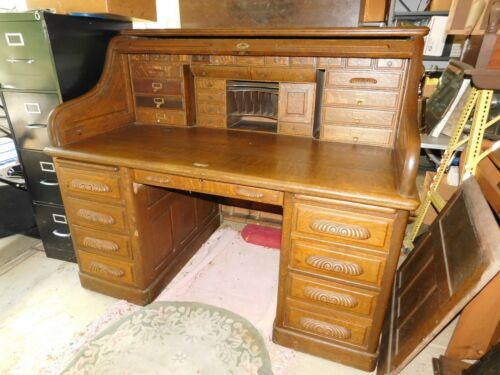 Massive Antique Roll Top Desk