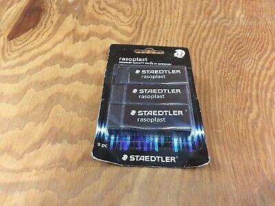 Staedler Rasoplast Black Rubber Eraser Made In Germany 3 Piece Set
