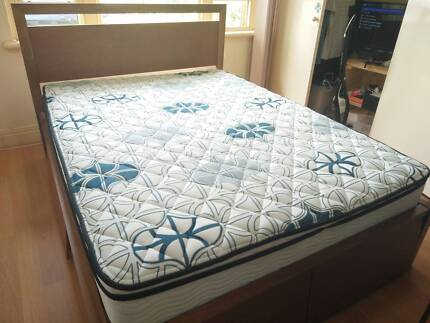 1 year old Queen mattress and Solid timber frame