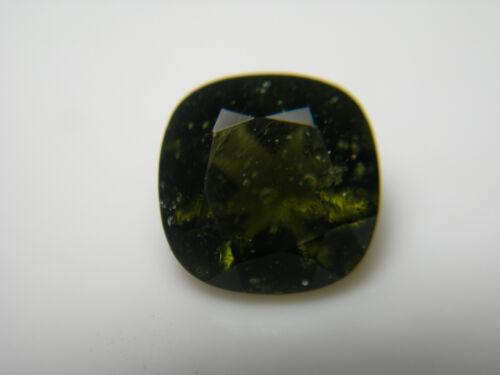 rare Moldavite Gem Cushion GREEN GENUINE Czech Tektite gemstone meteorite IMCA
