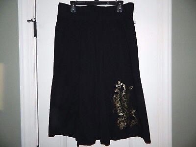 - Women's Venezia Black Knit Culotee Pants w/Gold Foil Flowers Size 14/16