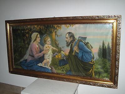 Antik Heiligenbild Schlafzimmerbild Giovanni Maria, Josef + Jesus Früchte Shabby