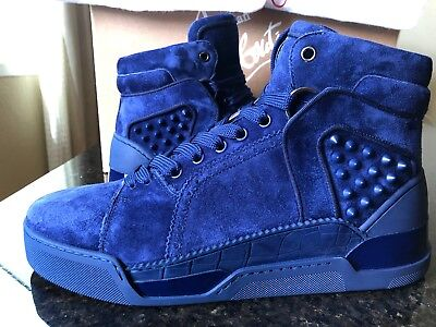 CHRISTIAN LOUBOUTIN LOUBIKICK 3170121 SUEDE HIGH-TOP SNEAKERS W/STUDS, BLUE 42