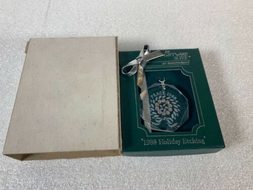 Swarovski Crystal Ornament Peace 1988 Holiday Etching with Box
