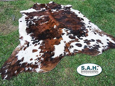 NEW LARGE Cowhide Rug Tricolor Cowskin Cow Hide Leather Carpet $119.99 6x6 feet