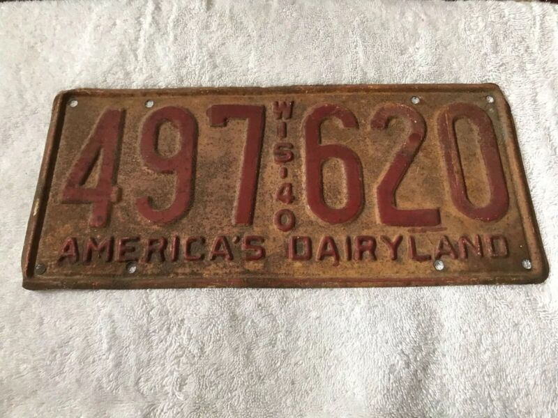 1940 Wisconsin License Plate 497 620