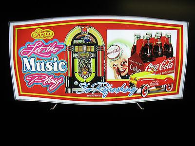 Vintage Led Lighted Sign Coca-cola Jukebox Sprite Boy Pedal Car Montage