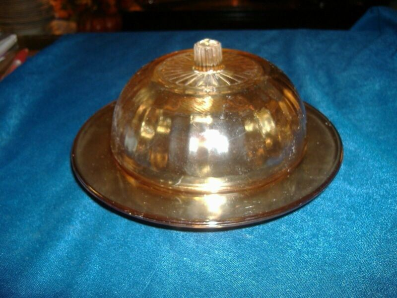 Iridized Flashed Carnival Glass Butter Dish Vintage Antique B11