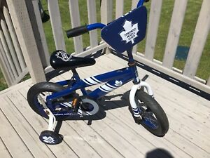 Toronto Maple Leafs kids bike with training wheels