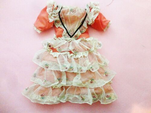 VINTAGE ANTIQUE CORAL PINK W RUFFLE NET LACE BISQUE DOLL DRESS    FACTORY ? ?