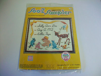 (Vintage Soo-Z Alexander Cross Stitch Sampler S103 Woodland Friends Birth Sampler)