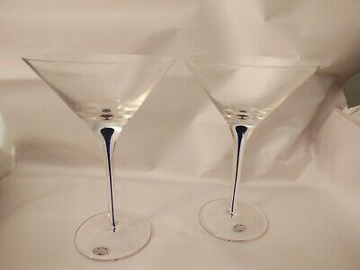 SET OF 2 HOME ESSENTIALS AND BEYOND Blue Bubble Drop Stem CRYSTAL MARTINI GLASS