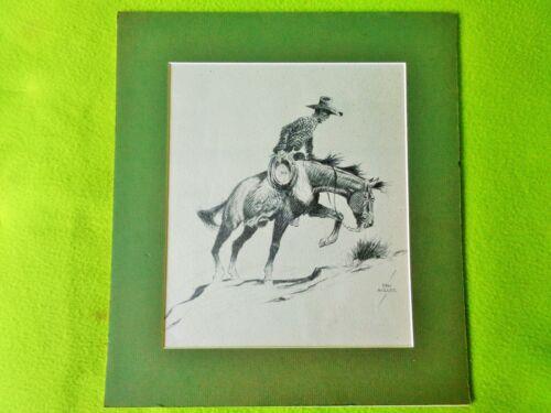 "Dan MULLER Vintage 1st Edition Print~1936~Cowwboy Western Buckaroo Horse~14""x12"""