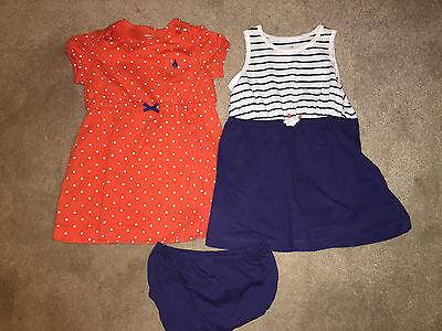 NWT CARTERS Lot 2 Infant Dresses w/ 1 Diaper Cover, Blue/Orange, 18 Month, $28