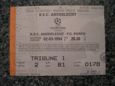 Ticket: Anderlecht - FC Porto UEFA CL (2-3-94)