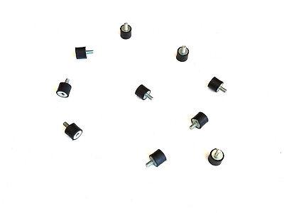 10 Rubber Vibration Isolator Mounts 916 Dia X 12 Ht 10-32 X 38 Length Stud