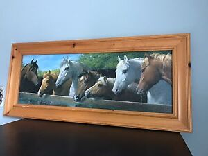 Horse painting in pine frame