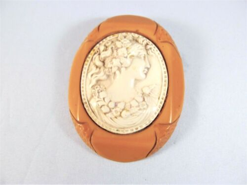 """Butterscotch Bakelite Cameo Brooch and Tan Celluloid Large size 2-3/4th """" long"""