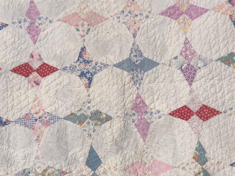 "VTG Quilt Antique Cotton Handmade Four Point Star Intricate 88""x68"" Cottage Farm"