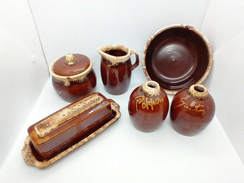 Vintage Lot of 5 Brown Drip Butter Dish Salt & Pepper Bowl Sugar Creamer Hull