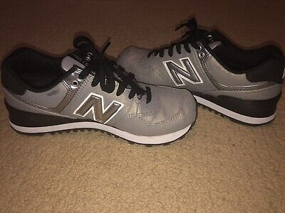 Women's Size 7 New Balance 574 Seasonal Shimmer Sneakers Shoes (Gold/Silver)