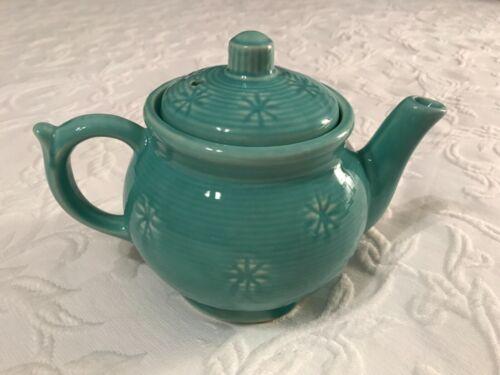 "Vintage SHAWNEE turquoise snowflake starburst 5 1/2"" 5 cup teapot"