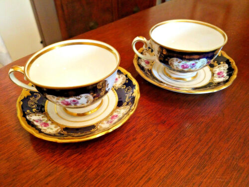 Eberthal GDR Germany two demitasse Cups & Saucers Echt Kobalt Gold cobalt blue