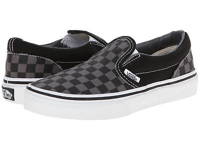 Vans Classic Slip On Checkerboard Black Pewter Kids Skate Shoes VN000ZBUEO0 Pewter Kids Shoes