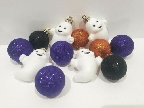 "(12) Halloween Ghost Purple Glitter Tree Ornaments Decorations 2.25"""