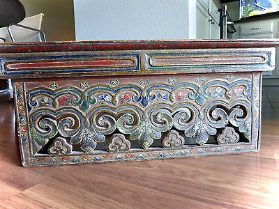 ANTIQUE MONK'S WRITING TABLE PAINTED TIBET FURNITURE 19TH C.