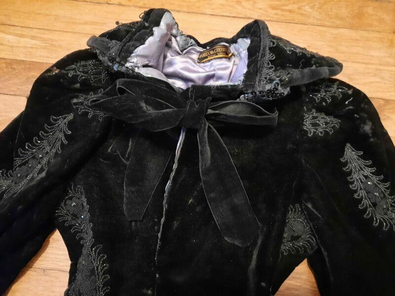 Antique Victorian Velvet Beaded Lace Jacket Coat Silk Purple James McCreery & Co
