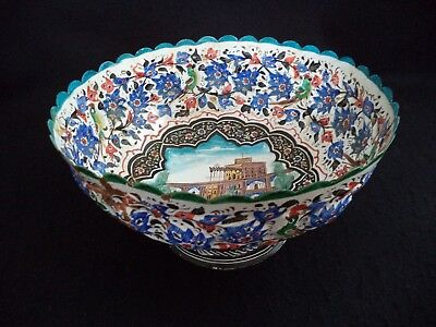 Enamel on copper bowl 9in painted metal Minakari bridge in Isfahan Iran birds
