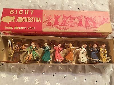 VINTAGE CHRISTMAS LOT OF 8 ANGEL ORCHESTRA FIGURES IN ORIGINAL BOX