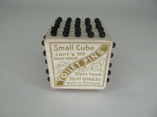 Set of Victorian Toilet Pins in Small Cube, Original Label, Glass Heads, Germany
