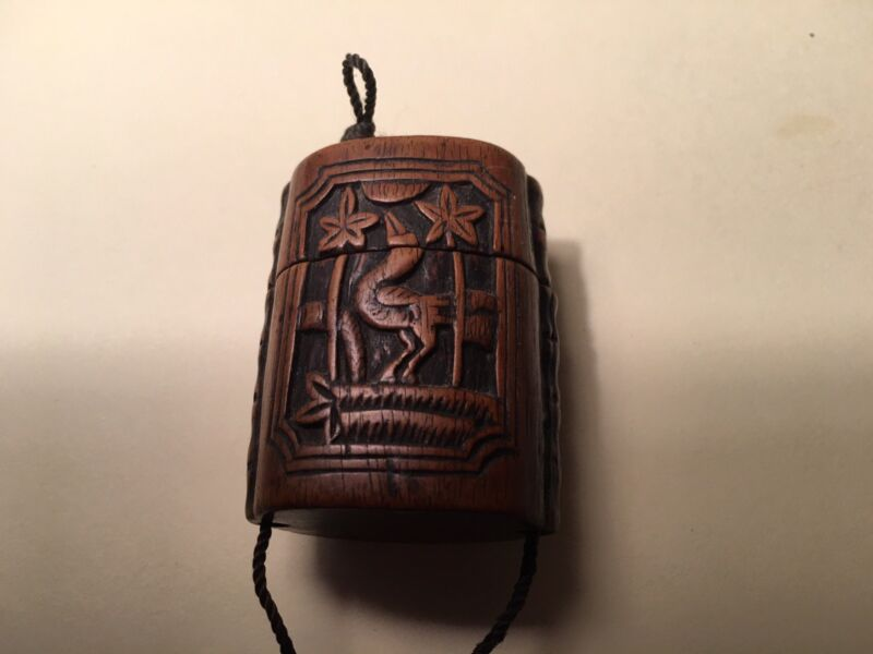 Antique Chinese Hand Carved Wooden Pill box Excellent Patina 1900-30