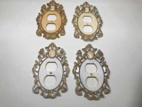 VINTAGE VICTORIAN ELECTRIC WALL OUTLET PLATE COVERS CAMEO PLASTIC SET OF 4