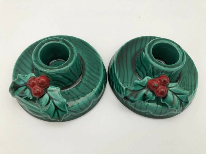 2 Vintage Lefton Christmas Holly Candle Holders Stick Holiday Japan Pair Set VG