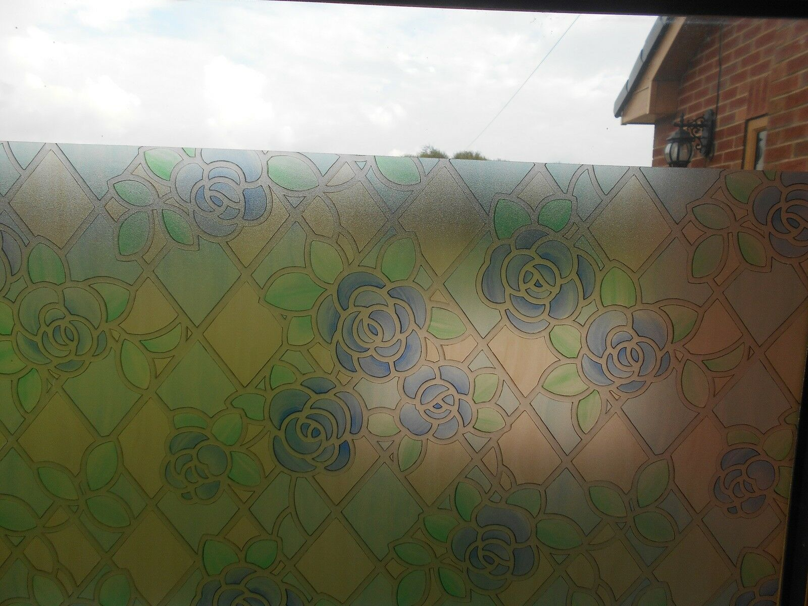 Rose Blue Stained Glass Window Covering Sticky Back