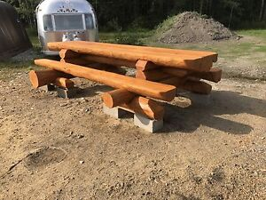 Handcrafted Log Picnic Table