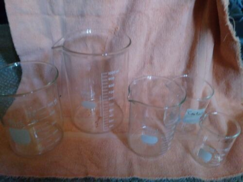LOT 5  Beaker Set, Glass Pyrex, Kimax 1000ml lab
