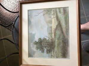 Signed pastel artwork JWH 1993 with frame