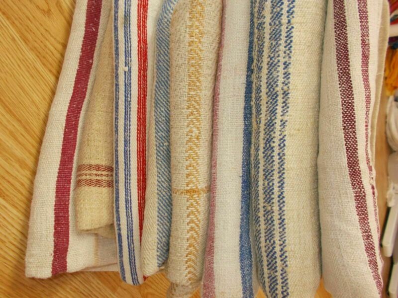 LOT of 8 Vtg Antique 1800s MIXED STRIPE HEMP LINEN fabric FEED SACK GRAIN BAGS