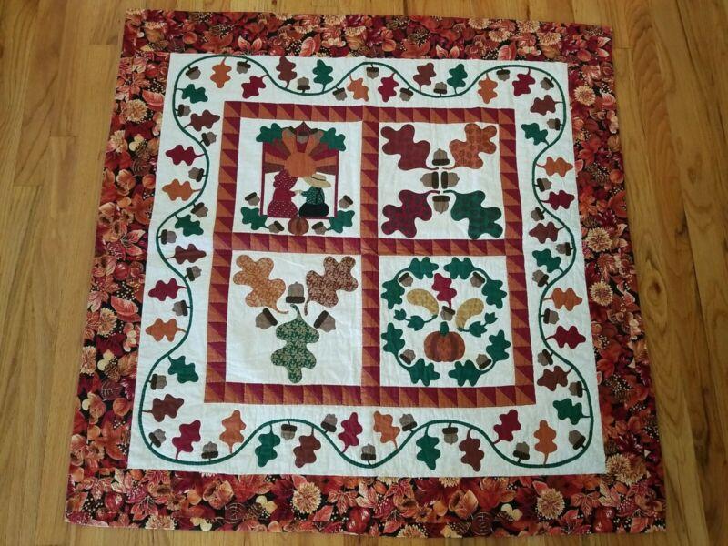 Beautiful Handmade Applique Quilt Wall Hanging Acorns Leaves Pumpkins 40x40
