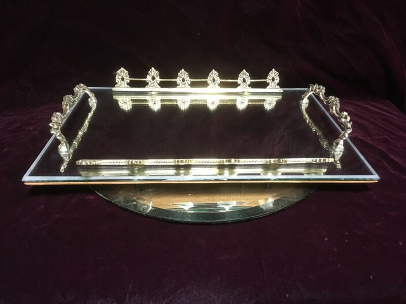 "VTG. Mirrored Metal Vanity Tray W/ Open Gallery 15 3/4"""