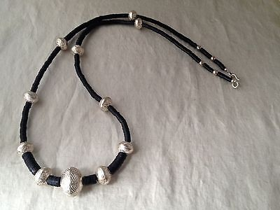 """Vintage 1988 Signed Robert Lee Morris Sterling Silver & Cocoa Bead Necklace  41"""""""