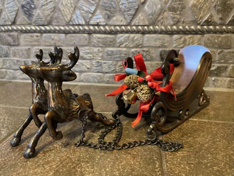 Vintage Bronze Colored Metal Sleigh W/Two Reindeer-4402